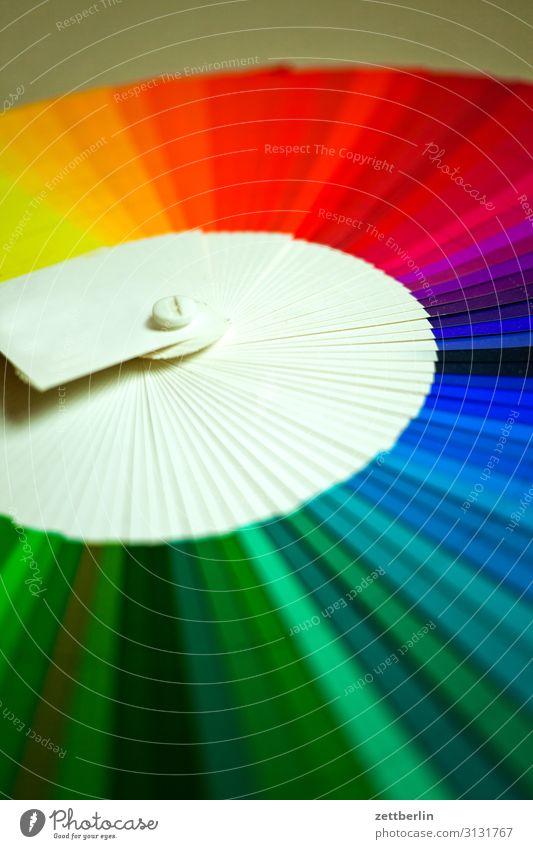 Farbfächer mehrfarbig Druck Druckerei Schriftstück Farbe Farbkarte Farbskala Farbbrillianz Farbwert Farbenspiel Farbverlauf kalibrierung Menschenleer