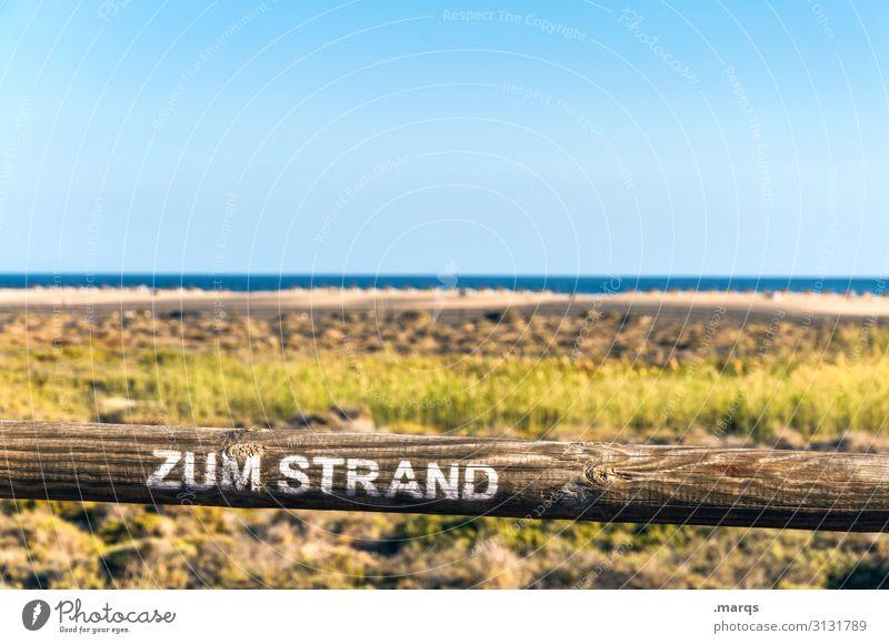 Zum Strand Freiheit Zugang Tourismus Schilder & Markierungen Sommerurlaub Landschaft Wolkenloser Himmel Schönes Wetter Sand Erholung Horizont Natur Ferne