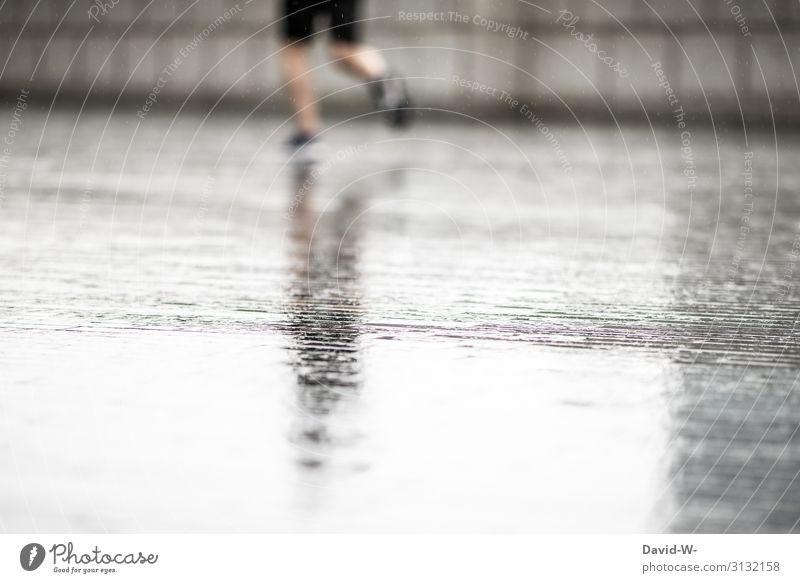im Regen joggen Lifestyle Gesundheit sportlich Fitness Zufriedenheit Freizeit & Hobby Mensch maskulin Junger Mann Jugendliche Erwachsene Leben 1 Kunst Kunstwerk