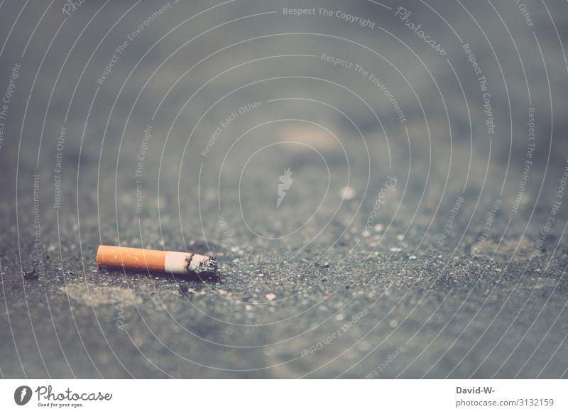 Kippe Mensch Gesundheit Straße Lifestyle Leben Umwelt Gesundheitswesen Kunst Stein liegen Klima Sauberkeit Boden Krankheit Rauchen Müll