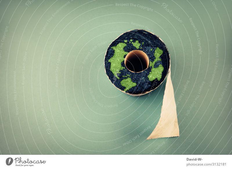 Die Welt rächt sich wenn wir sie weiterhin so schlecht behandeln Umweltverschmutzung Erde Toilettenpapier klopapier kreativ abfall Umweltschutz Darstellung