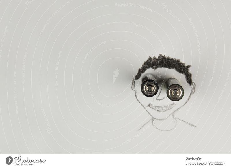 Lach doch mal 8) Mann Junge Kind Gesicht lachen lächeln lustig Smile Batterien kreativ Kreativität Zeichnung Profil Kopf elektronik Technik Techniker