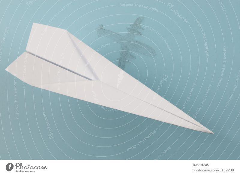 Fantasievorstellung - Träume und Realität Flugzeug Schatten Traum Papierflieger fliegen fliegend Schattenspiel Schattenseite Ferien & Urlaub & Reisen Freiheit