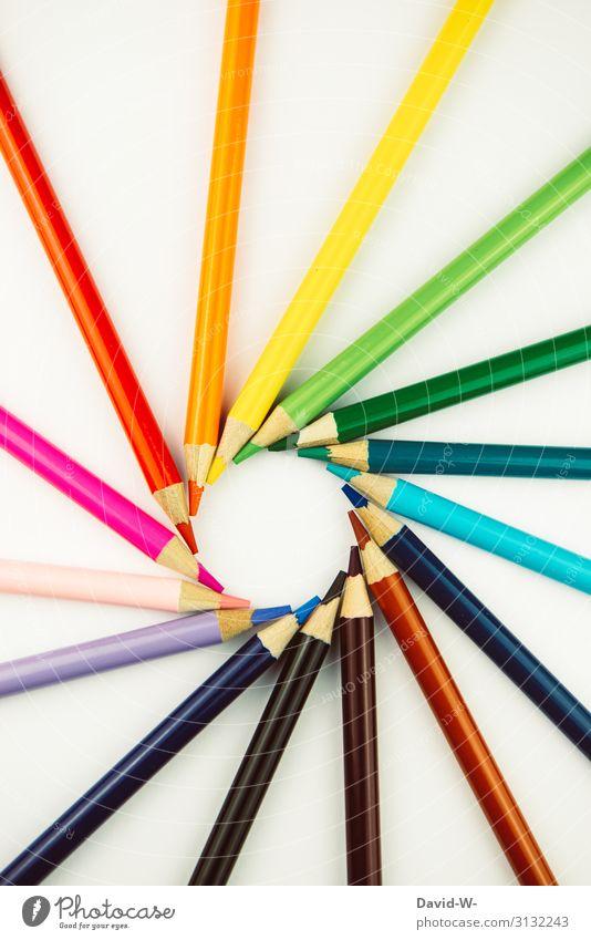 Art - Kunstwert aus Stiften Buntstifte bunt farbenfroh Muster Kunstwerk Künstlerisch Kreislauf rund Anordnung Farbenspiel Farbenwelt Schule Museum schön