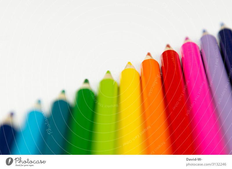 Buntstifte - Kunst bunt malen Farbe Kreativität zeichnen Farbfoto mehrfarbig Freizeit & Hobby Nahaufnahme Innenaufnahme Künstler Maler Stifte set farbenfroh