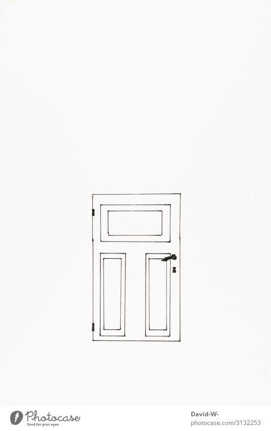 Zeichnung Tür verschlossen Türschloss türklinke Textfreiraum Menschenleer Textfreiraum rechts Detailaufnahme Textfreiraum oben Textfreiraum unten Eingangstür