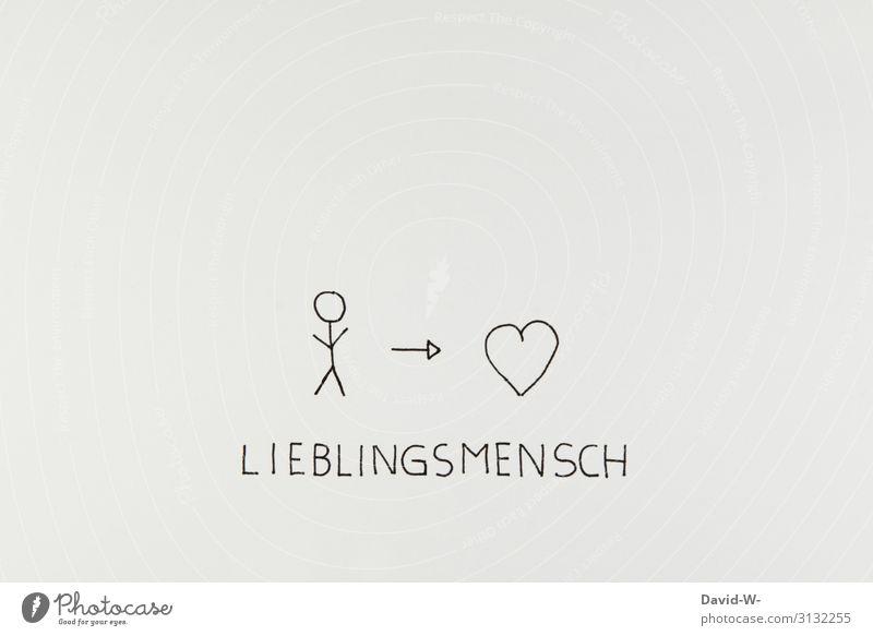 Lieblingsmensch Zeichnung Herz Strichmännchen Liebe Liebeserklärung Liebesbekundung Liebesgruß Pfeil herzbewegend Verliebtheit ich liebe dich i love you