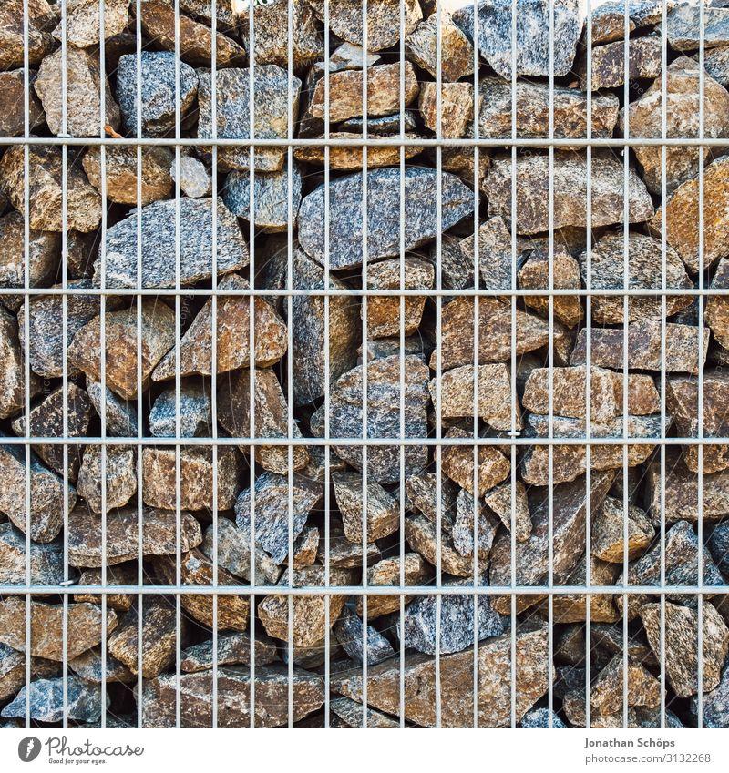 Steinwall mit Metallgitter Mauer Wand ästhetisch Hintergrundbild Garten Grenze Grundstück Grundstücksgrenze Strukturen & Formen Muster Gitter gefangen Raster