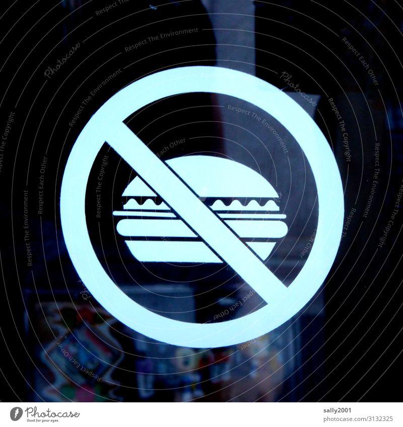 Burgerverbot... Fastfood Hamburger Zeichen Schilder & Markierungen Hinweisschild Warnschild Essen Verbote Piktogramm Warnung Warnhinweis Farbfoto Außenaufnahme