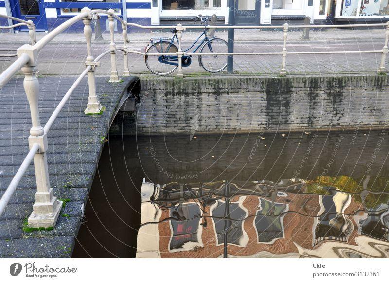 Leeuwarden Ausflug Städtereise Fahrradfahren Wasser Sonne Herbst Schönes Wetter Kanal Gracht Niederlande Stadt Hauptstadt Altstadt Brücke Mauer Wand Straße