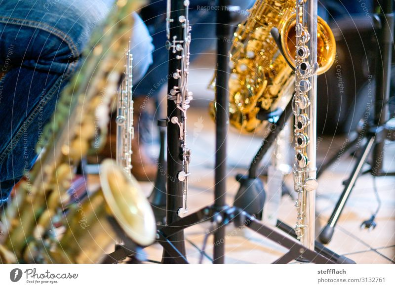 Orchesterpause Veranstaltung Musik Kultur Show Konzert Bühne Musiker Blasorchester Blasmusik Saxophon Klarinette Querflöte Notenständer ästhetisch gold silber