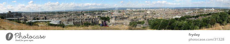 Edinburgh Panorama (Aussicht) Weitwinkel Schottland Stadt Dach Hafen groß Panorama (Bildformat)