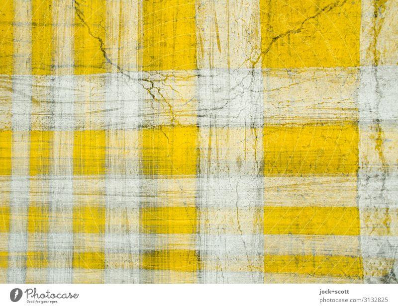 Firlefanz auf Griechisch Verkehrswege Straße Schilder & Markierungen Streifen Strukturen & Formen Zebrastreifen kariert retro unten gelb weiß Symmetrie