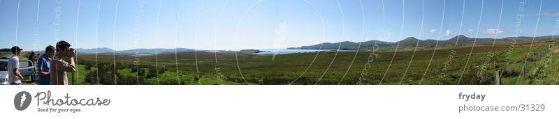 highlands #1 Panorama (Aussicht) Weitwinkel Schottland Highlands Gegenlicht Gras Berge u. Gebirge Weide Schönes Wetter groß Panorama (Bildformat)