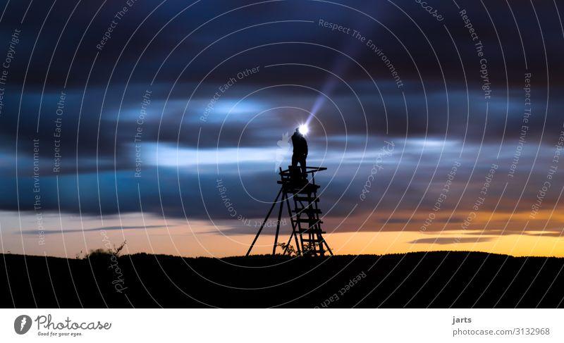 sucher Mensch 1 Himmel Wolken Nachthimmel Sonnenaufgang Sonnenuntergang Klimawandel Wetter Feld Blick stehen außergewöhnlich Unendlichkeit Neugier Hoffnung
