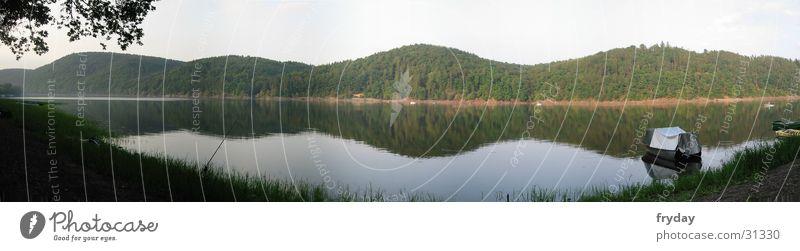 Edersee Panorama (Aussicht) Weitwinkel See Ederstausee Küste Wasser Baume groß Panorama (Bildformat)