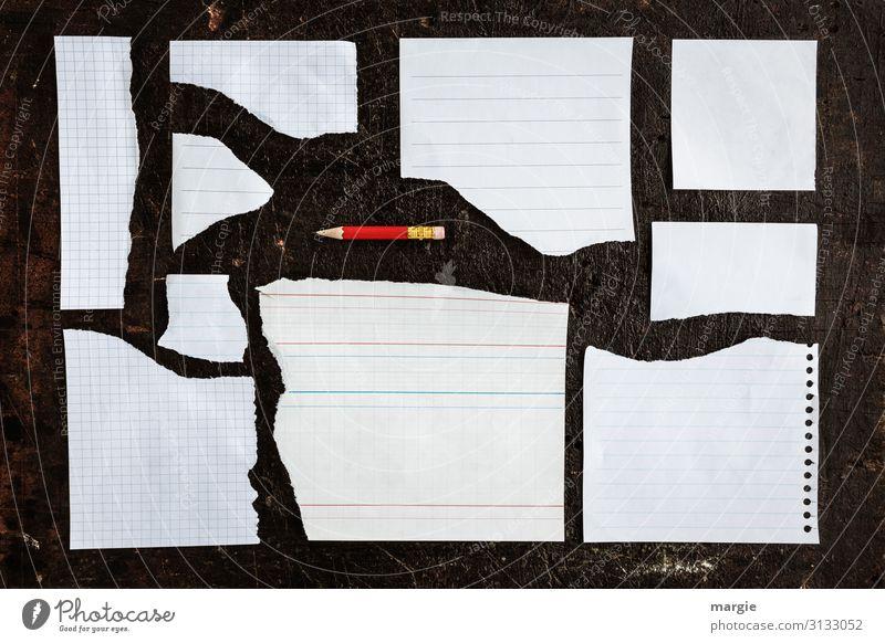 Viele zerrissene Zettel mit einem roten Stift grafisch geordnet Bildung Beruf Büroarbeit Arbeitsplatz schreiben weiß ansammeln Sammlung Schreibstift Bleistift