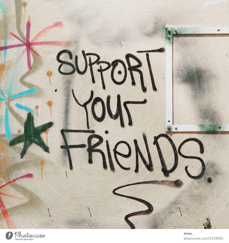 echtma schwarz Leben Graffiti Wärme Wand Kunst Mauer Stein Zusammensein Freundschaft Dekoration & Verzierung Linie Schriftzeichen Kreativität Lebensfreude Idee