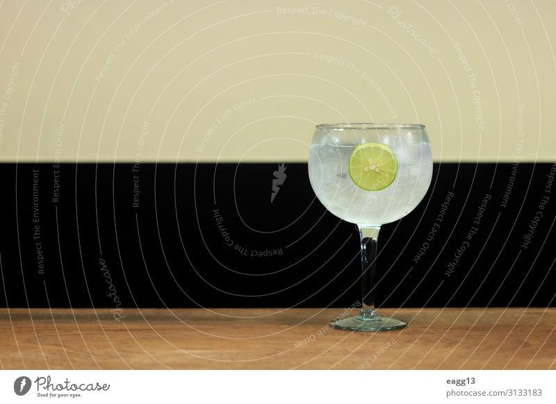 Einfaches Getränk aus Gin Tonic mit Zitronenscheibe Frucht Erfrischungsgetränk Limonade Saft Alkohol Lifestyle Erholung Sommer Tisch Feste & Feiern Coolness
