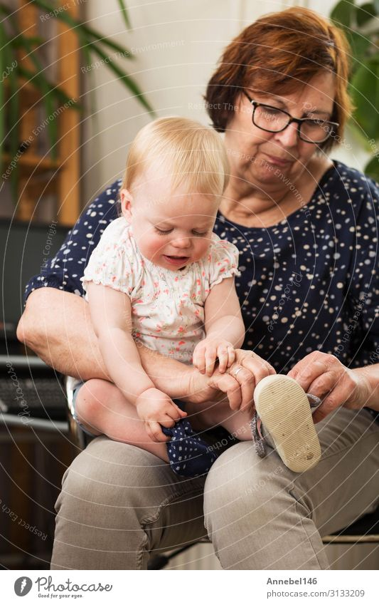 Großmutter und Enkelin, zieht einen Schuh auf ihrem Schoß an. Freude Glück Spielen Kind Schule Baby Kleinkind Großvater Familie & Verwandtschaft alt genießen