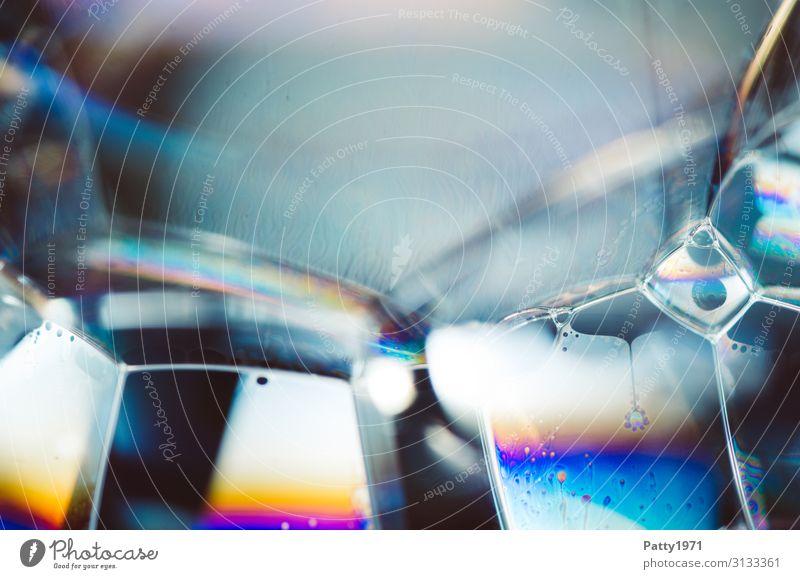 Seifenblase / Schaum Wissenschaften Interferenzfarben Physik Oberflächenspannung Flüssigkeit mehrfarbig bizarr komplex Geometrie durchsichtig Hintergrundbild