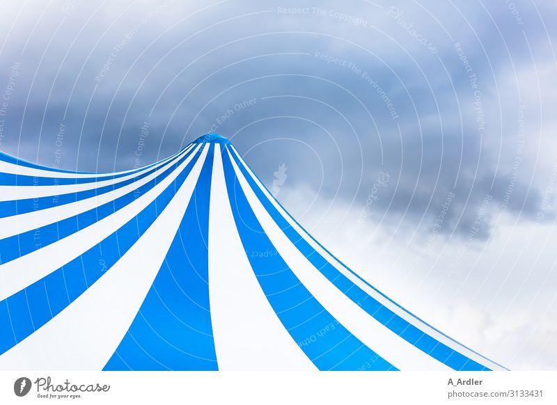 Zirkuszelt blau weiß gestreift Design Zelt Zelthimmel Kunst Theaterschauspiel Veranstaltung Show Kunststoff Gefühle Stimmung Freude Vorfreude Begeisterung