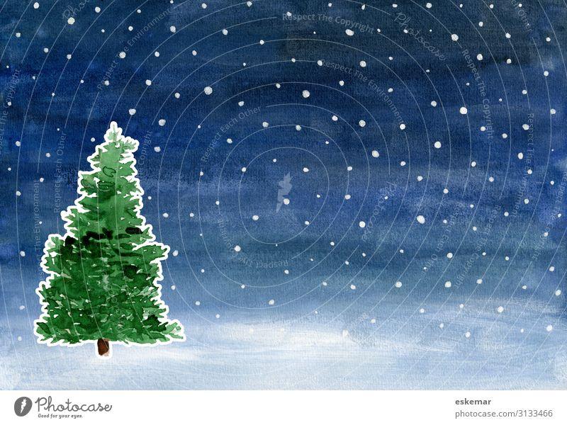 Aquarell Weihnachten Winter Feste & Feiern Weihnachten & Advent Weihnachtsbaum Kunst Gemälde Landschaft Nachthimmel Stern Wetter Schnee Schneefall Pflanze Baum