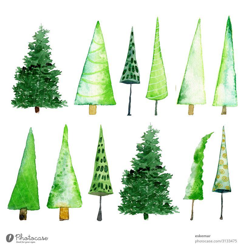 watercolor trees Winter Feste & Feiern Weihnachten & Advent Kunst Kunstwerk Gemälde Aquarell Natur Pflanze Baum Weihnachtsbaum Tanne Nadelbaum Kiefer Wald