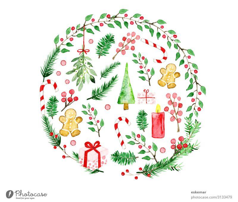 Weihnachten Aquarell Weihnachten & Advent Pflanze grün rot Baum Winter Feste & Feiern Kunst Dekoration & Verzierung Geschenk Kreis Gemälde Weihnachtsbaum Kugel