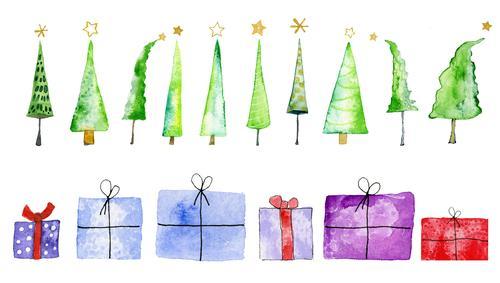 Weihnachtsbäume und Geschenke, Aquarell auf Papier Feste & Feiern Weihnachten & Advent Kunst Kunstwerk Gemälde Baum Weihnachtsbaum Weihnachtsgeschenk