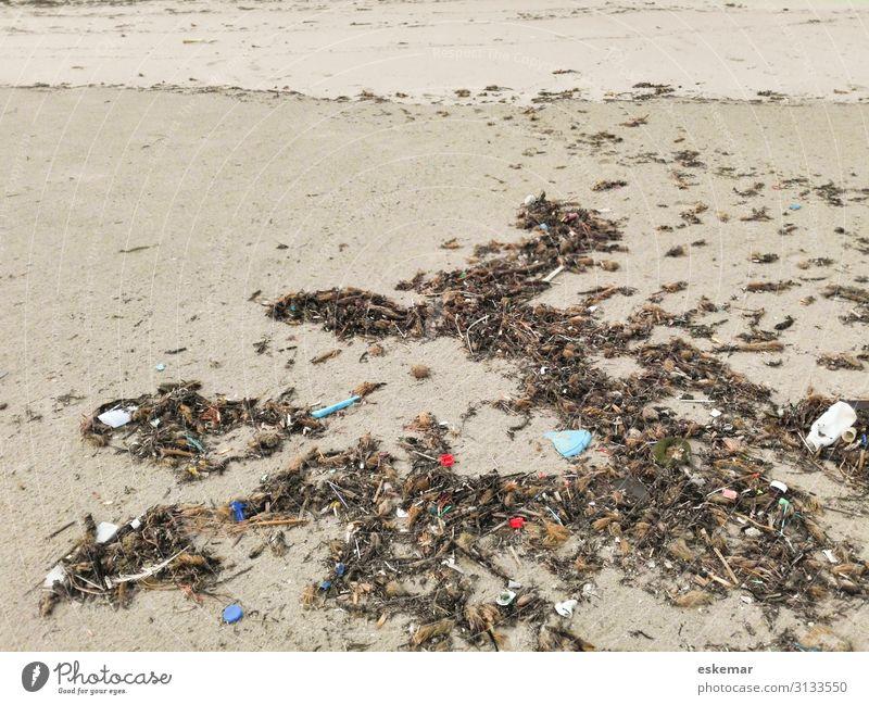 Plastikmüll am Strand Insel Umwelt Sand Küste Verpackung Tube Kunststoffverpackung Müll Kunststoffmüll Schmutz Dreck trashig trist viele braun Traurigkeit Sorge
