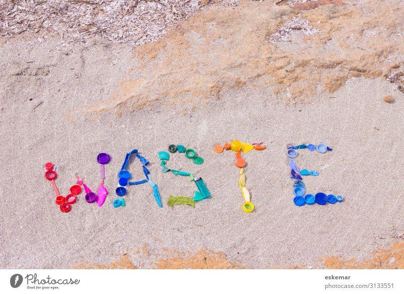 waste Meer Strand Umwelt Küste Sand Schriftzeichen dreckig trist ästhetisch bedrohlich Zeichen viele Kunststoff Müll trashig Wort