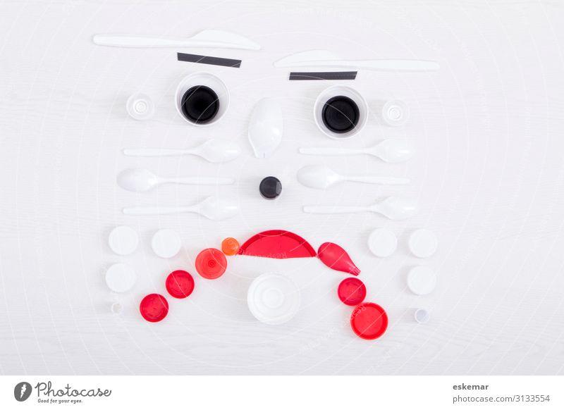 Plastikmüll, traurig Mensch weiß schwarz Gesicht Umwelt Traurigkeit dreckig trist Zeichen Kunststoff Kitsch Sammlung Müll trashig Umweltschutz Sorge