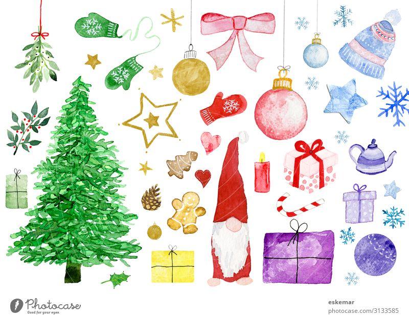 Weihnachtsmotive in Aquarell Feste & Feiern Weihnachten & Advent Kunst Kunstwerk Gemälde Pflanze Baum Weihnachtsbaum Mistel Ilexblatt Handschuhe Mütze Papier