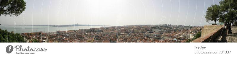Lissabon Panorama (Aussicht) Weitwinkel Portugal Europa Ferne groß Panorama (Bildformat) Hauptstadt Überblick