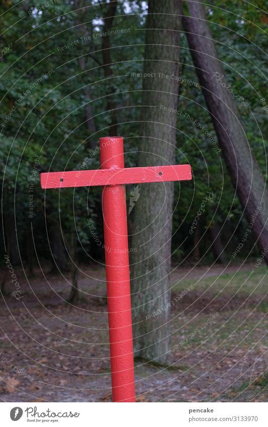 auf leben und tod Kreuz rot Christliches Kreuz Religion & Glaube Farbfoto Christentum Symbole & Metaphern Tod Kruzifix Menschenleer Karfreitag Jesus Christus