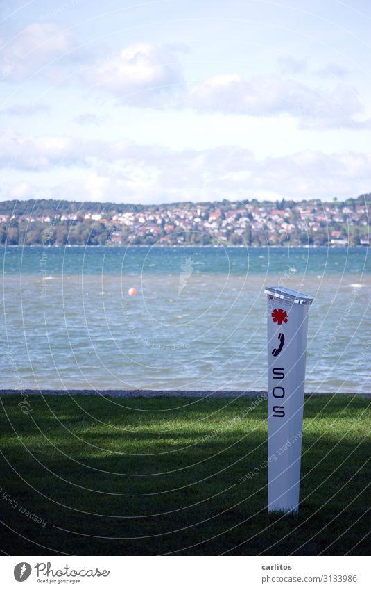 S O S SOS Notruf Schiffsunglück Notfall ertrinken Bodensee Notarzt Alarm Wassersport bedrohlich gefährlich Risiko