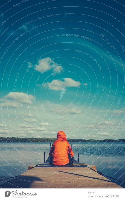 TT | Verloren - ein klein bisschen Mensch Ferien & Urlaub & Reisen Natur Sommer Pflanze blau Wasser Landschaft Einsamkeit ruhig Gesundheit Erwachsene Umwelt