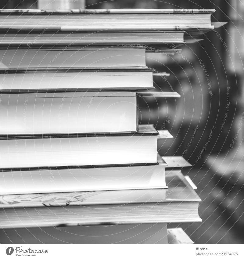 Bildungsangebot lesen Arbeitsplatz Buchladen Bibliothek Stapel Lesezeichen kaufen verkaufen eckig hoch einzigartig viele grau schwarz weiß Weisheit fleißig