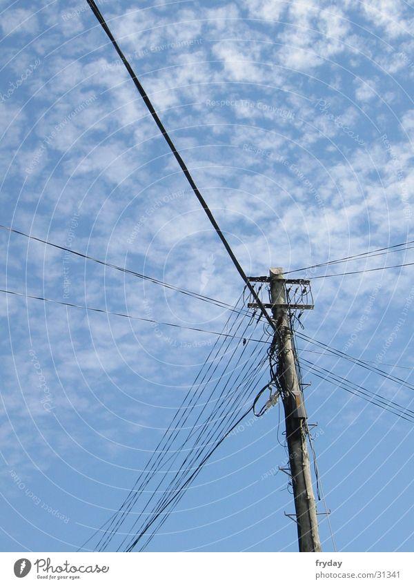 heiße draht Himmel Telekommunikation Schnur Kabel Strommast Draht Mischung