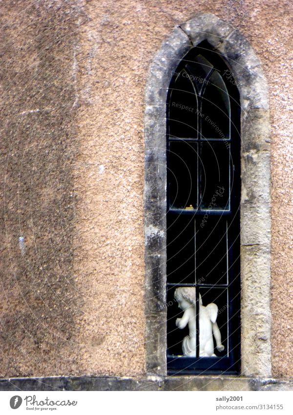 systemrelevant | Schutzengel... Engel Kirche Fenster Figur Statue weiß Glaube Religion Kirchenfesnter schmal Hoffnung beten Gebet Religion & Glaube Christentum