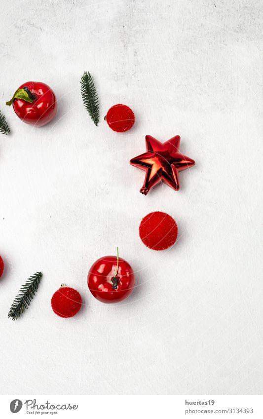 Hintergrund mit Weihnachtsdekoration Komposition Lifestyle elegant Stil Design Glück Winter Dekoration & Verzierung Tisch Feste & Feiern Weihnachten & Advent