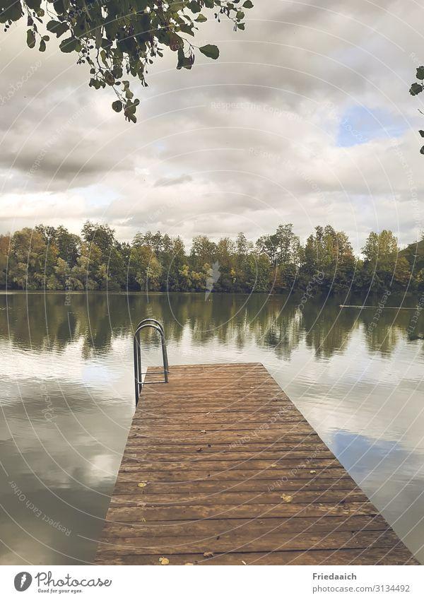Spiegelung im See Ausflug Schwimmen & Baden Joggen Natur Landschaft Wasser Himmel Wolken Herbst Seeufer Erholung Bewegung Freizeit & Hobby ruhig Farbfoto