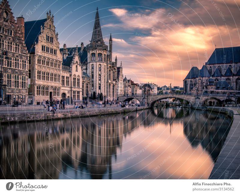 Saint Michael Brücke in Gent bei Sonnenuntergang Ferien & Urlaub & Reisen Tourismus Haus Kultur Landschaft Fluss Stadt Gebäude Architektur Straße historisch
