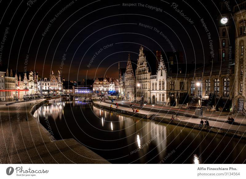 historisches Stadtzentrum von Gent bei Nacht beleuchtet Ferien & Urlaub & Reisen Tourismus Haus Kultur Landschaft Fluss Brücke Gebäude Architektur Straße antik