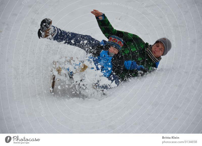 Schlittenfahrt Mensch Kind Mann Erwachsene Vater Familie & Verwandtschaft 2 Winter Eis Frost Schnee Fröhlichkeit weiß Freude Geschwindigkeit Vater und Sohn
