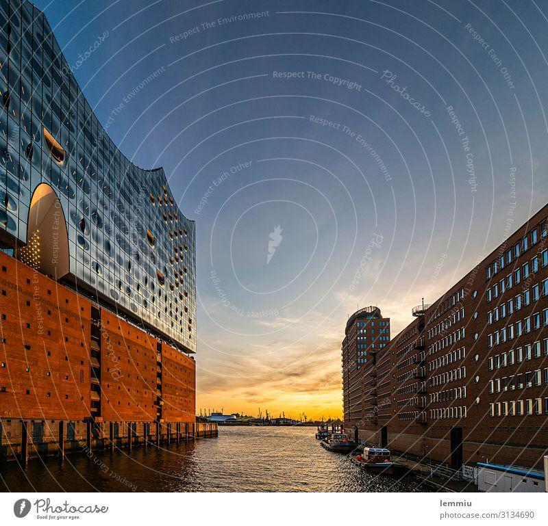 Sonnenuntergang Hamburg Europa Hafenstadt Stadtzentrum Menschenleer Haus Sehenswürdigkeit Wahrzeichen Schifffahrt Kreuzfahrt Heimweh Fernweh Hamburger Hafen