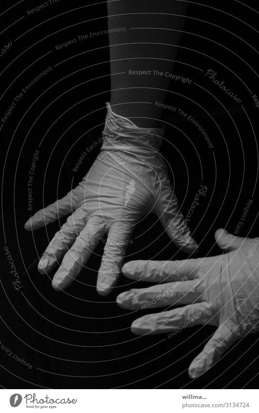 schwarzarbeit Hand Gesundheitswesen Finger Schutz Sicherheit Konzentration Arzt Handschuhe Kriminalität Operation Behandlung Tatort steril Schwarzarbeit