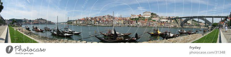 Porto I Panorama (Aussicht) Weitwinkel Portugal Wasserfahrzeug Europa Hafen Brücke groß Panorama (Bildformat)