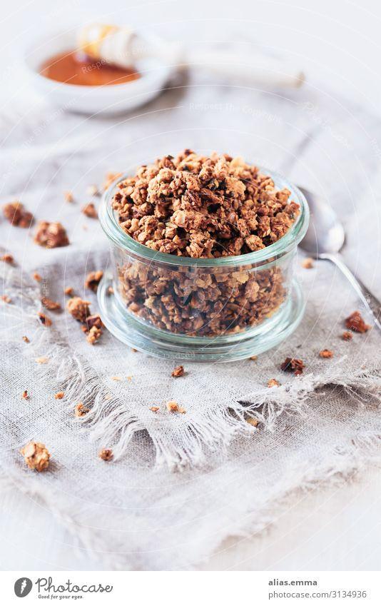 Knuspermüsli - Granola im Glas Lebensmittel Getreide Ernährung Frühstück Vegetarische Ernährung Schalen & Schüsseln gelb orange weiß granola Vegane Ernährung